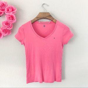 Tommy Hilfiger Short Sleeve V-Neck Tee in Pink